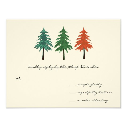 "Enchanted Pine Tree Forest Wedding 4.25"" X 5.5"" Invitation Card"