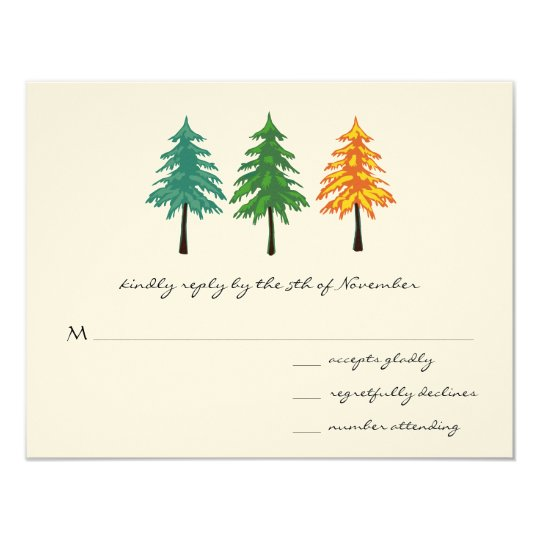 Enchanted Pine Tree Forest Wedding Card