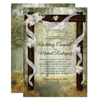 Enchanted Rustic Woodland Wedding Arch Card
