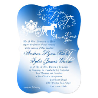 "Enchanted Sapphire Blue Story Book Wedding 5"" X 7"" Invitation Card"