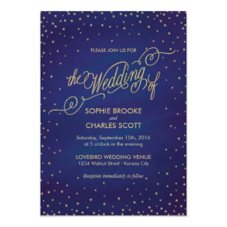 Enchanted Stars Blue & Gold Fairytale Wedding Card
