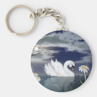 enchanted swan keychain - digitally painted swan