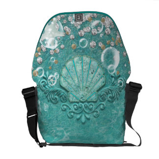 Enchanted Teal Sea Shell & Ocean Bubbles Courier Bags