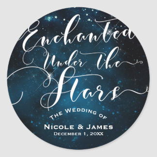 ENCHANTED UNDER THE STARS Starry Blue Wedding Classic Round Sticker