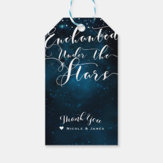 ENCHANTED UNDER THE STARS Starry Blue Wedding Gift Tags