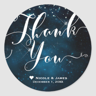 Enchanted Under the Stars Starry Sky THANK YOU Classic Round Sticker