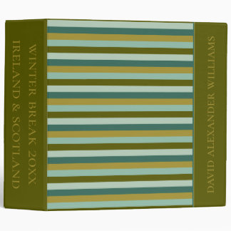 Enchanted Woodland Stripes Personalized 3 Ring Binder