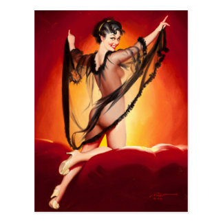 Enchanting Brunette Pin Up Art Postcard