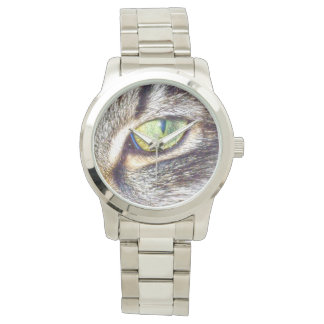 Enchanting_Cats_Eye_Large_Unisex_Silver_Watch Wrist Watches