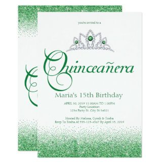 Enchanting Emerald Quinceañera Invitations