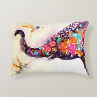"""Enchanting Friends"" Hummingbird & Elephant Decorative Pillow"
