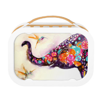 """Enchanting Friends"" Hummingbird & Elephant Lunch Boxes"