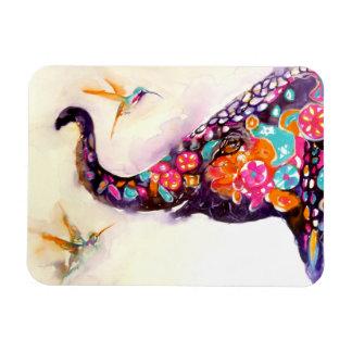 """Enchanting Friends"" Hummingbird & Elephant Rectangular Photo Magnet"