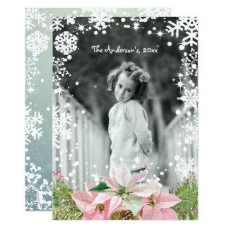 Enchanting Pink Poinsettias, Holiday Photo Card