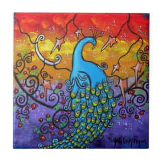 Enchantment Peacock Art Tile