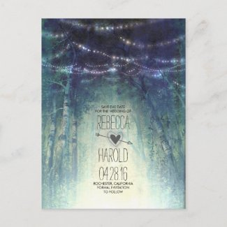 Enchated Forest String Lights Save the Date Announcement Postcard