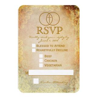"Encircled Cross Religious Wedding RSVP Card 3.5"" X 5"" Invitation Card"