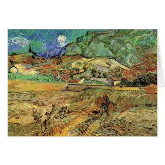 Enclosed Wheat Field w Peasant by Vincent van Gogh Card