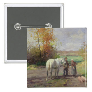 Encounter on the Way to the Field, 1897 2 Inch Square Button