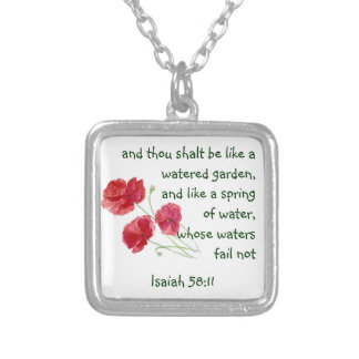 Encourage Promise Scripture Isaiah Poppy Garden Silver Plated Necklace