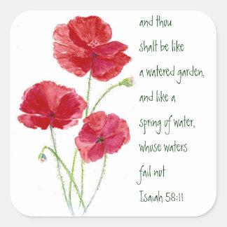 Encourage Promise Scripture Isaiah Poppy Garden Square Sticker