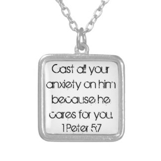 encouragement bible verse 1 Peter 5:7 Silver Plated Necklace