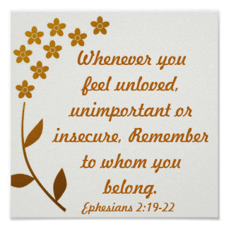 Encouragement bible verse Ephesians 2:19-22 Poster