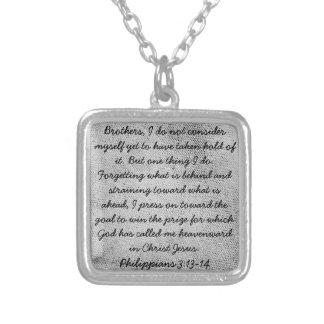encouragement bible verse Philippians 3 necklace