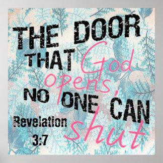 Encouragement bible verse Revelation 3:7 Poster