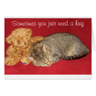 Encouragement Card with Cat and Teddy Bear