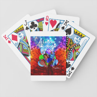 Encouragement  message for leadership. bicycle playing cards