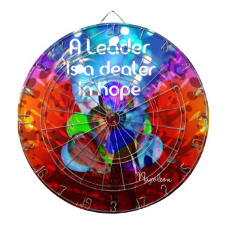 Encouragement  message for leadership. dartboard with darts