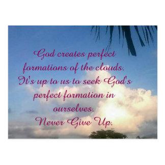 "ENCOURAGEMENT: ""NEVER GIVE UP ON GOD"" POST CARD"