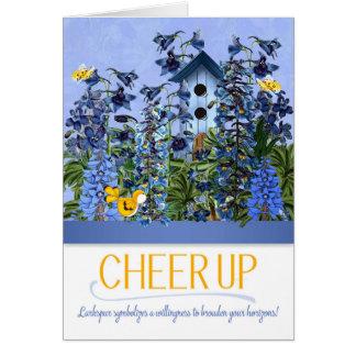 Encouragez le jardin bleu de pied-d'alouette avec carte
