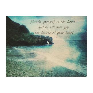 Encouraging, Inspirational Bible Verse Psalm 37:4 Wood Prints