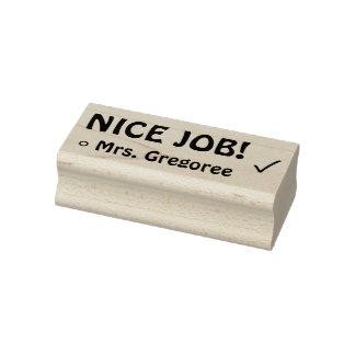"Encouraging ""NICE JOB!"" + Custom Tutor Name Rubber Stamp"