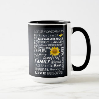 Encouraging Words on a Chalkboard COFFEE MUG