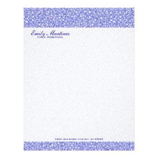 Encrusted Blue Diamonds Look Glitter Pattern Letterhead