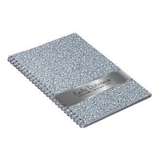 Encrusted Diamonds Look Glitter Patter Monogram Spiral Notebook
