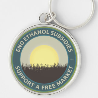 End Ethanol Subsidies Silver-Colored Round Keychain