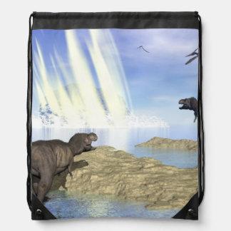 End of dinosaurs drawstring bag