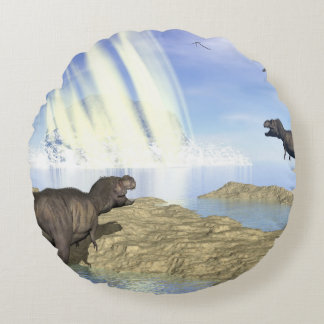 End of dinosaurs round pillow