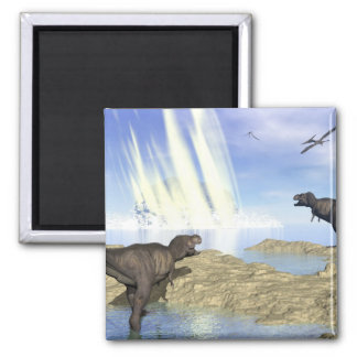 End of dinosaurs square magnet