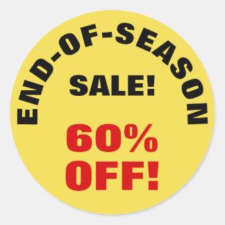 """""""END-OF-SEASON SALE!"""" """"60% OFF!"""" Round Sticker"""