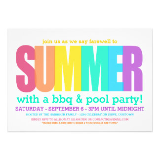 End of Summer Party Custom Invitation