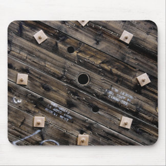 End of Wooden Industrial Wire Spool Mouse Pad
