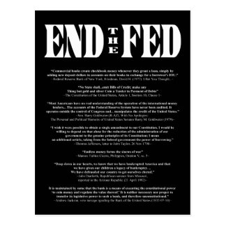 END THE FED Federal Reserve Quotes & Citations 2 Postcard