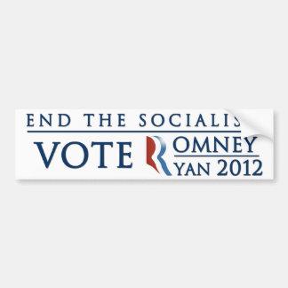 End the Socialism | Vote Romney Ryan 2012 Bumper Sticker