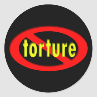 End Torture Oval Classic Round Sticker