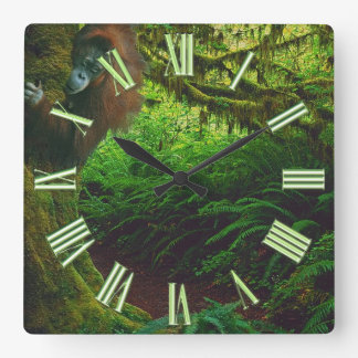 Endangered Orangutan & Rainforest Primate Image 2 Clocks